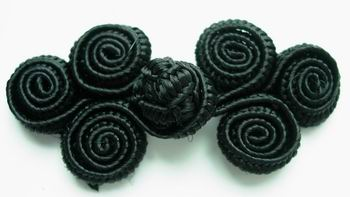 FG33 Coils Chinese Frog Closure Buttons Knots Black 10pairs