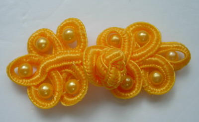 FG61-2 Orange Pearl Loop Chinese Frogs Closure Buttons Knots 5pr