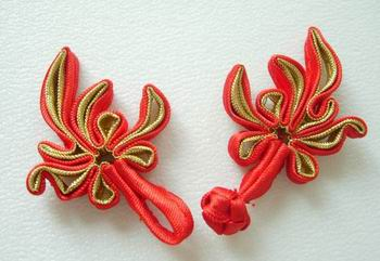 FG90-1 Chinese Frog Closure Buttons Knots Tail Red Gold 5pr