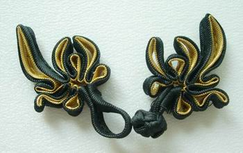 FG90-2 Chinese Frog Closure Buttons Knots Tail Black Gold 5pr
