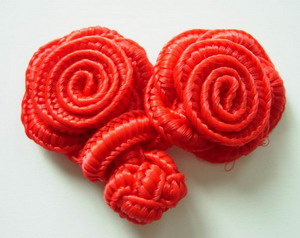 FG02 Red Rose Chinese Frog Closure Buttons Knots 5pairs