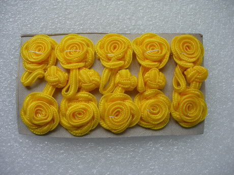 FG08 Yellow Rose Chinese Frog Closure Buttons Knots 5pairs