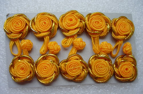 FG14-3 Orange Gold Trim Rose Chinese Frog Closure Buttons 5pair