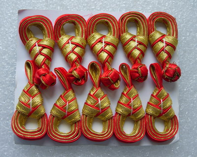 FG211-3 Pipa Chinese Silk Frog Closure Knots Buttons Red Gold x5 - Click Image to Close