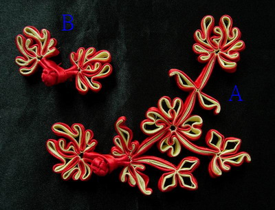 FG212 Floral Chinese Silk Frog Closure Knots Buttons Red Beige