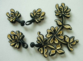 FG213 Floral Chinese Silk Frog Closure Knots Buttons Black Beige