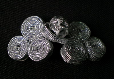 FG216-2 Metallic 3Coils Frog Closure Buttons Knots Silver 5pr