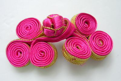 FG216-4 Metallic Coils Frog Closure Buttons Knot Fuchsia Gold x5