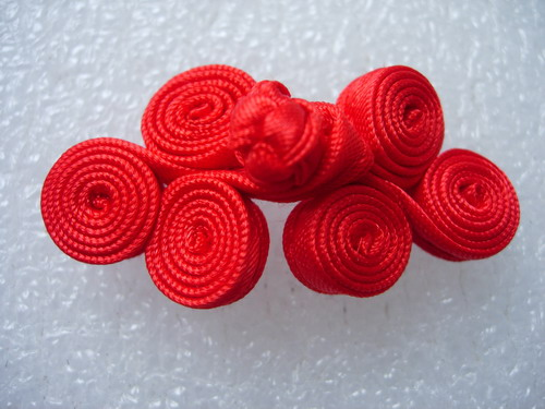 FG216-7 Ribbon Coils Frog Closure Buttons Knot Red 5pairs