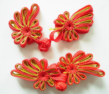 FG219 Chinese Ribbon Frog Closure Buttons Knots Red Gold 5pr