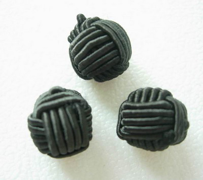 FG226-2 Crochet Ball Knots Chinese Buttons Black 30pcs