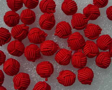 FG226-3 Crochet Ball Knots Chinese Buttons Red 30pcs