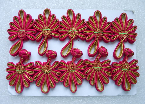 FG232-4 Ribbon Chinese Fan Closures Buttons Maroon Gold 5pr