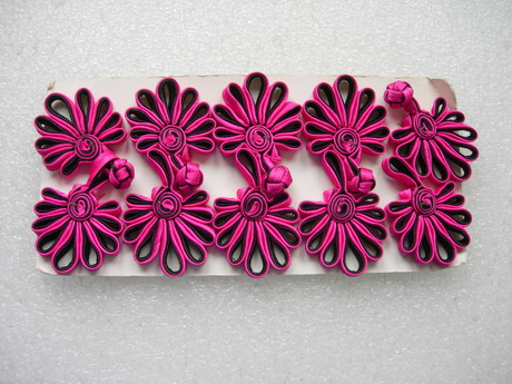 FG232-9 Ribbon Fan Chinese Closures Buttons Knots Fuchsia 5pr