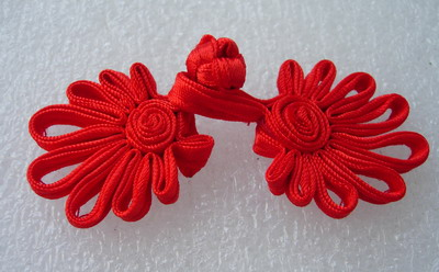 FG232-6 Ribbon Fan Chinese Closures Buttons Knots Red 5prs
