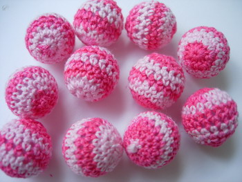 FG237 Crochet Knit Ball Knots Buttons Jewelry Pink x10