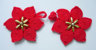 FG255 Red Poinsettia Beads Frog Closure Buttons x10