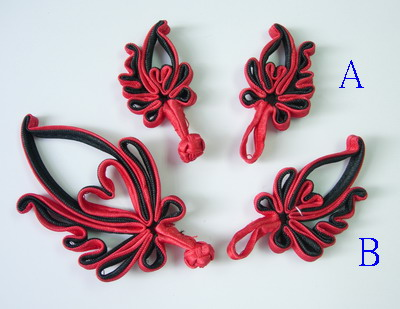 FG260 Twin Floral Chinese Silk Frog Closure Knots Red Black