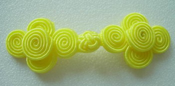 FG265 Coils Dots Handmade Frog Closure Buttons Knots Yellow 10pr - Click Image to Close