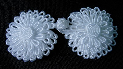 FG288 White 3 layers Flower Daisy Closure Buttons Knots 4pairs