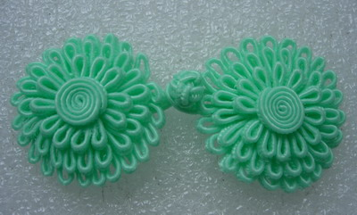FG289 Aquamarine Layered Flower Daisy Closure Buttons Knots 4prs