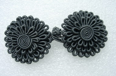 FG299-2 3 layers Daisy Flower Closure Buttons Knots Grey