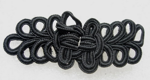 FG301 Black Braided Loopy Frog Closure Buttons Knots 5prs