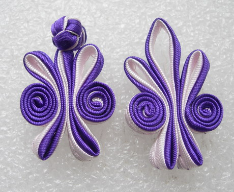 FG312-2 Ribbon Chinese Frog Closured Knots White-Purple 5p