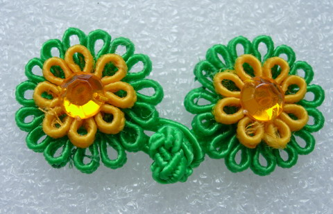 FG313 Green Yellow Daisy Flower Gemstone Frog Closure Knots 5pr