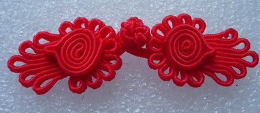 FG314 Red Flower Chinese Frog Closure Knots Handmade Jewelry x5