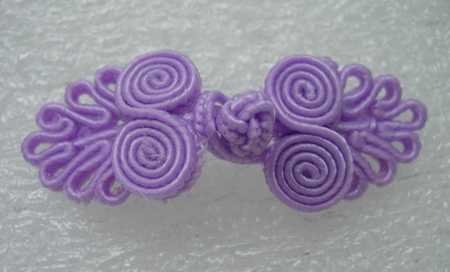 FG317-4 Chinese Frog Closure Knots Button Jewels Lavender 5prs