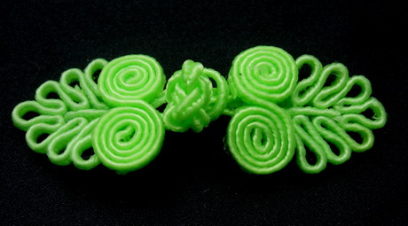 FG317-5 Chinese Frog Closure Knots Button Jewels Lime 5prs