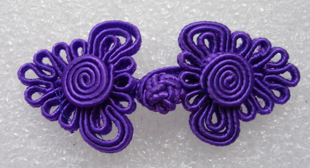 FG321 ~Tree Coil~ Frog Closure Knots Button Jewels Purple 5prs