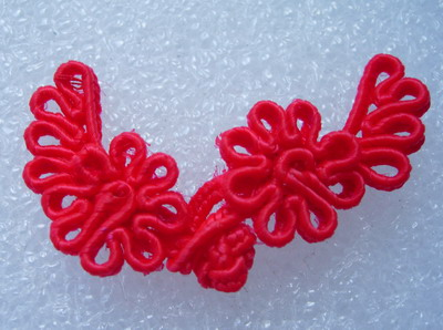 FG322 ~Flower Leaf~ Frog Closure Knots Button Jewels Red 10prs