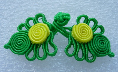 FG323 Green Yellow Floral Frog Closure Knots Button Jewels 5prs