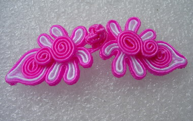 FG329 Chinese Frog Closure Knots Buttons Fuchsia White 5prs