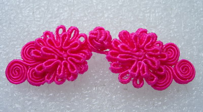 FG332 Flower Handmade Frog Closure Knots Buttons Fuchsia 5prs