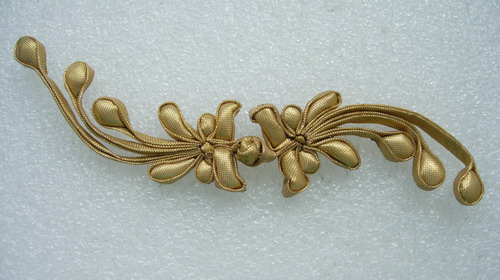FG339 Gold Phoenix Tail Silk Satin Frog Closure Kont Button