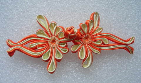FG353 Silk Satin Floral Frog Closure Kont Button Orange Beige