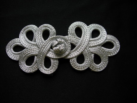 FG357 Metallic Silver Trim Loops Corded Closured Knot Button