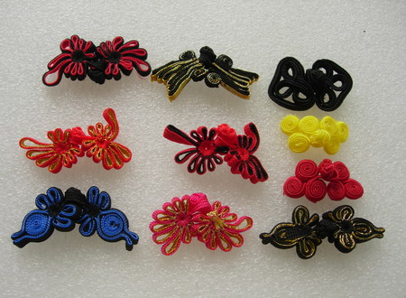 FG360 Assorted Ribbon Frog Closured Knots Button 10prs