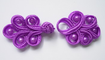 FG60 Purple Pearl Loop Chinese Frogs Closure Buttons Knots 5pr