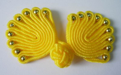 FG75-11 Yellow Chinese Frog Closure Buttons Knots (Fan) 5pr