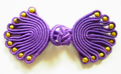 FG75-9 Purple Chinese Frog Closure Buttons Knots (Fan) 5pr