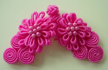 FG113 Chinese Frog Closure Buttons Knots Daisy Bead Fuchsia 10pr