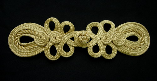 FG344 Gold Loopy Dots Braid Frog Closured Kont Buttons Handmade