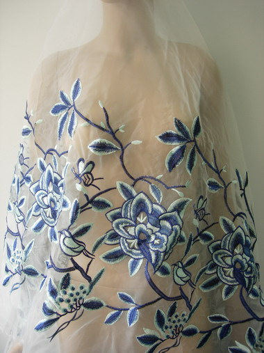 "LE21 58"" Floral Curls Embroidered Organza Fabric Blue-Tone 1y"