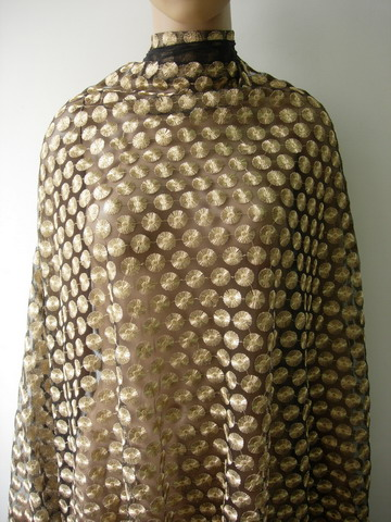 "LE22 52"" Gold Dots Embroidered Metallic Trims Tulle Fabric 1y"