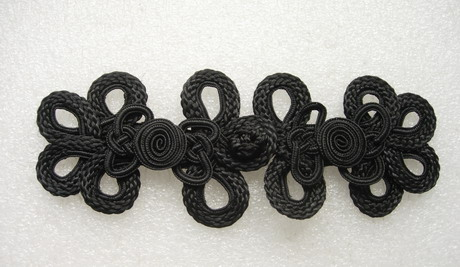 MR02 Black Macrame Fastener Frog Closure Knot