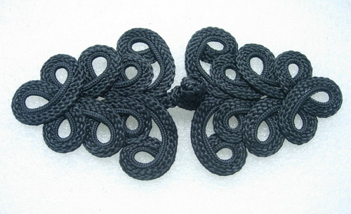 MR04-2 Macrame Fastener Frog Closure Knot Button Black